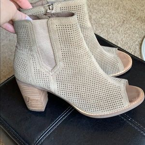 TOMS perforated peep toe booties